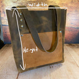 Small Tote Bag in Broken Oak Crazyhorse with Camel-Tan Pockets