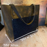 Medium Tote Bag in Broken Oak Crazyhorse with a Boot Strap Oil Tan Pocket