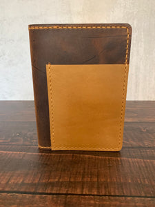 Leather A6 Notebook Cover in Dark Amber Harvest with Colonial Tan Thread