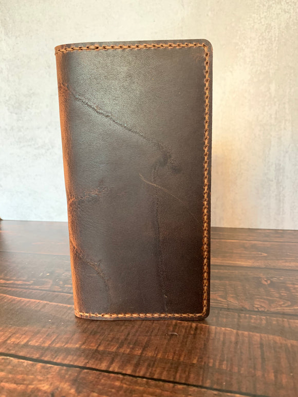 Leather Hobonichi Weeks Mega Cover in Autumn Harvest with Havana Cigar Thread