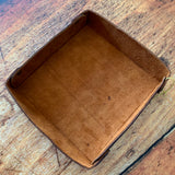 Square Leather Valet Trey in Wheat Harvest and Antique Brass