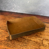 Rectangular Leather Valet Trey in Broken Oak Crazyhorse and Plate Nickel