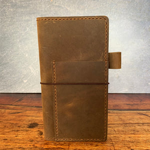 Leather Hobonichi Weeks Cover in Broken Oak Crazyhorse with Havana Cigar Thread
