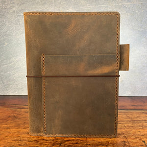 Leather A5 Notebook Cover in Broken Oak Crazyhorse with Havana Cigar Thread