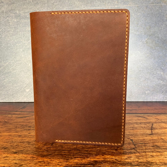 Leather A5 Notebook Cover in Premium Saddle Harvest with Colonial Tan Thread
