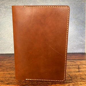 Leather A5 Notebook Cover in Bridle with Beige Thread