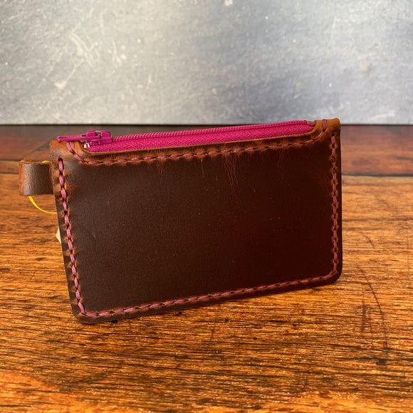 Small Leather Zipper Pouch in Autumn Harvest with Purple Thread
