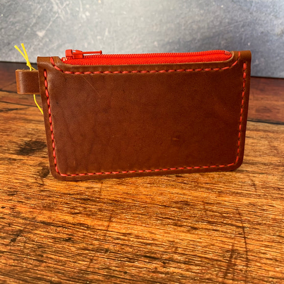 Small Leather Zipper Pouch in Over-Oiled English Tan Dublin with Red Thread
