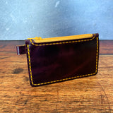 Small Leather Zipper Pouch in Amethyst GenX with Yellow Thread