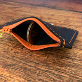 Small Leather Zipper Pouch in Black Dublin with Orange Thread