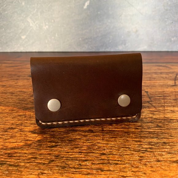 Leather Folded Snap Wallet in Nut Brown Dublin with Beige Thread