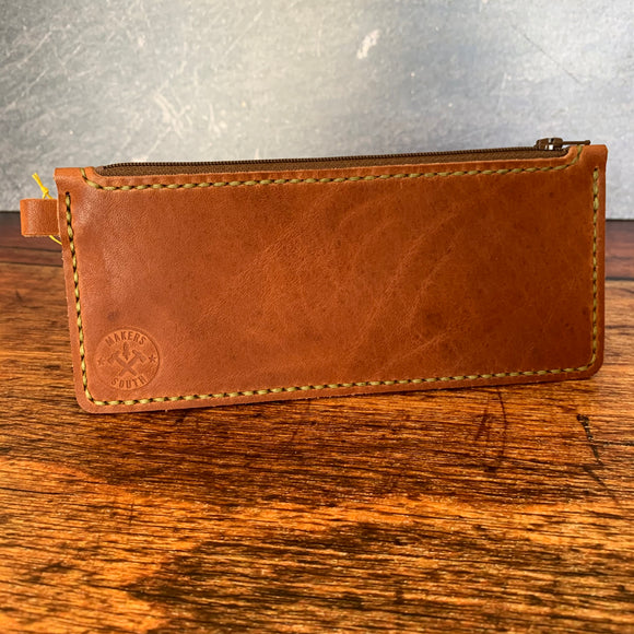 Medium Leather Zipper Pouch in English Tan Dublin with Pea Green Thread