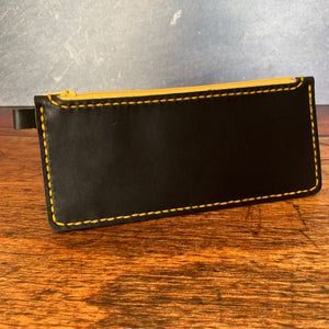 Medium Leather Zipper Pouch in Black Dublin with Yellow Thread