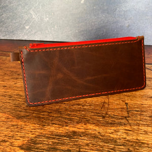 Medium Leather Zipper Pouch in Autumn Harvest with Red Thread
