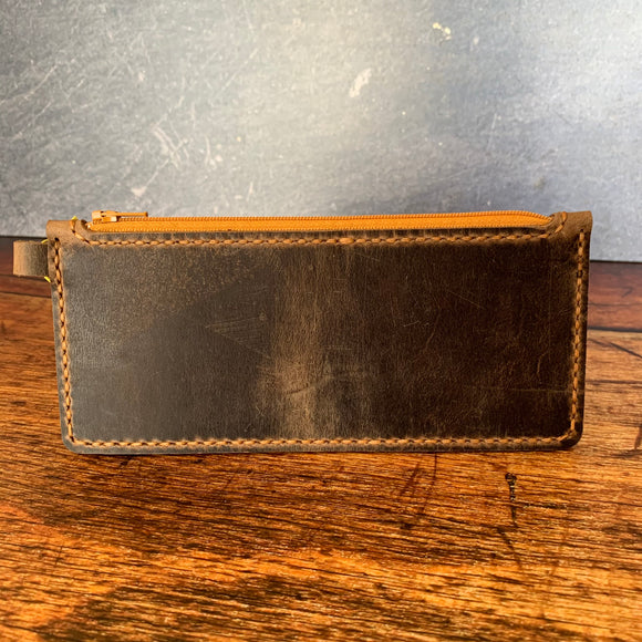 Medium Leather Zipper Pouch in Crazy Tobacco with Colonial Tan Thread
