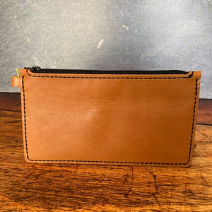 Large Leather Zipper Pouch in Cognac Essex with Black Thread