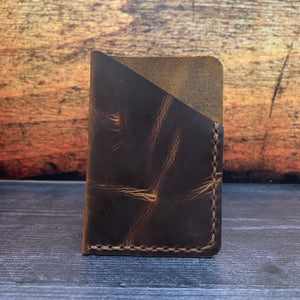Leather Folded Card Wallet in Sunset Oil Tan with Havana Cigar Thread
