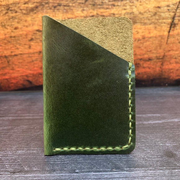 Leather Folded Card Wallet in Electric Green Millennial with Pea Green Thread