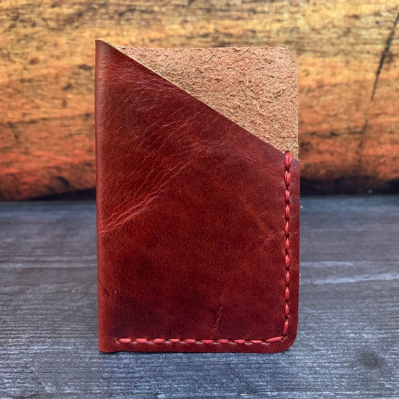 Leather Folded Card Wallet in Red Millennial with Red Thread