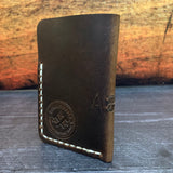 Leather Folded Card Wallet in Nut Brown Dublin with Cream Thread