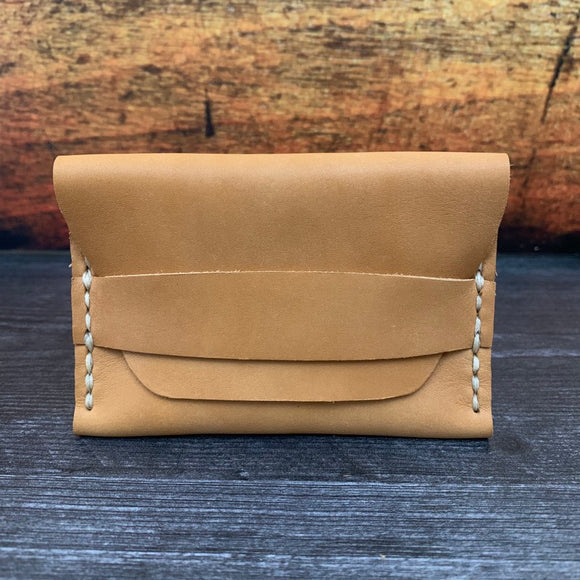 Leather Folded Flap Wallet in Natural Essex with Beige Thread