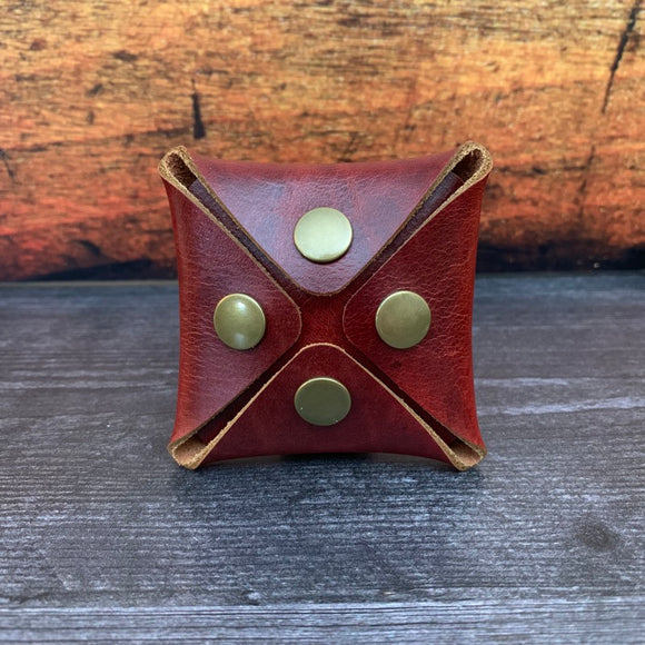 Square Coin Pouch in Red Millennial with Brass Hardware