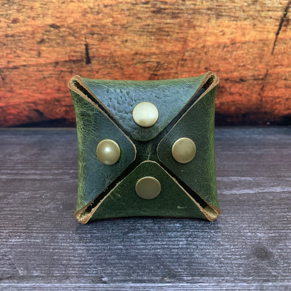 Square Coin Pouch in Electric Green Millennial with Brass Hardware