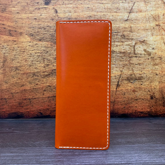 Long 8 Card Wallet in Orange Buttero with Cream Thread