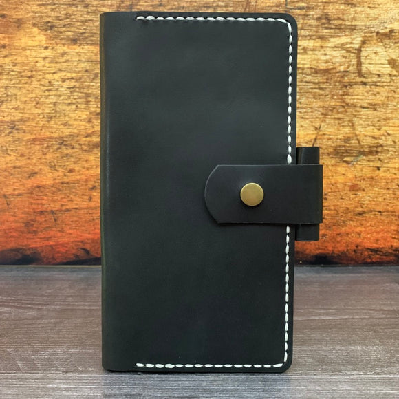 Hobonichi Weeks Cover in Black Dublin with Silver Thread