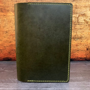 A5 Notebook Cover in Electric Green Millennial with Pea Green Thread