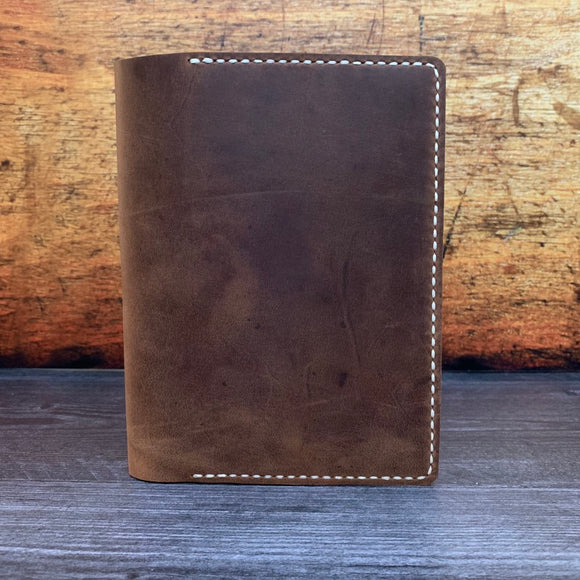 B6 Notebook Cover in Dark Mahogany Oil Tan with Beige Thread