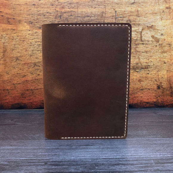 B6 Notebook Cover in Bootstrap Brown Oil Tan with Beige Thread