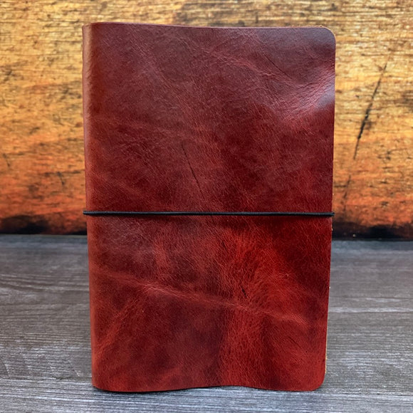 Travelers Notebook Style Pocket Size Notebook Cover in Red Millennial with Black Elastic