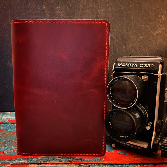 Leather A5 Notebook Cover in Red Millennial with Red Thread