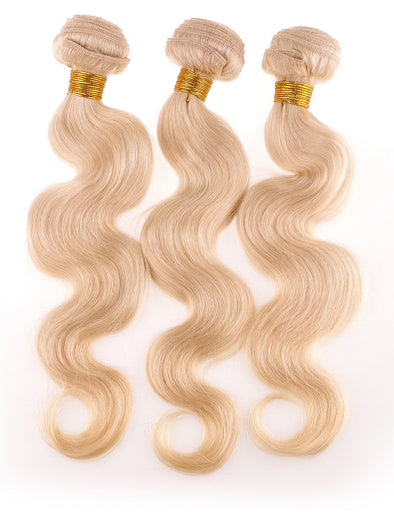 Dynasty Premium Hair 3 Bundle Deal - 100% Virgin Human Hair Luxurious Body Wave Extensions (Blonde 613)