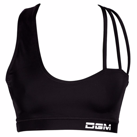 Female gym assymetrical strappy crop top - Black