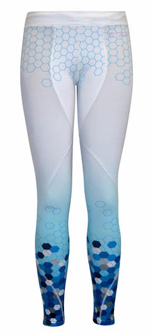 Female gym Compression legging - White blue hexagon
