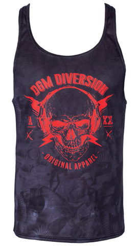 Mens gym stringer vest - Red skull