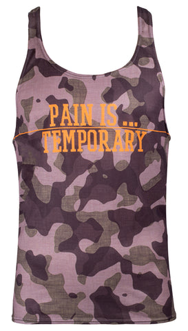 Mens gym stringer vest - Pain is temporary