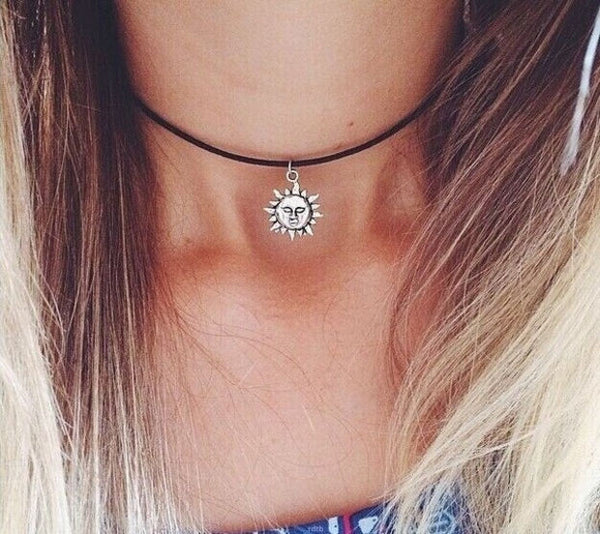 Sun Charm Choker Necklace