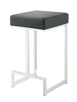 G105252 - Square Counter Height Stool Grey And Chrome