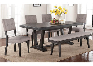 1105-6PC Ashen Echo Dining Table, 4 Chairs & Bench, Dining & Pub, AMERICAN IMPORTS, - ReeceFurniture.com - Free Local Pick Ups: Frankenmuth, MI, Indianapolis, IN, Chicago Ridge, IL, and Detroit, MI
