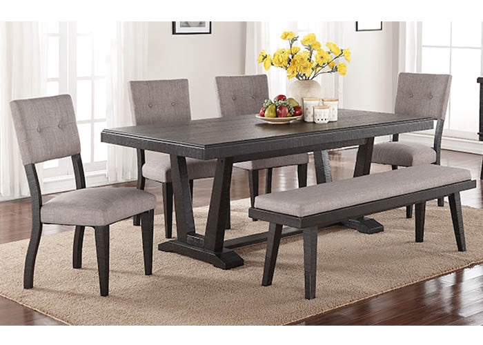 1105-6PC Ashen Echo Dining Table, 4 Chairs & Bench