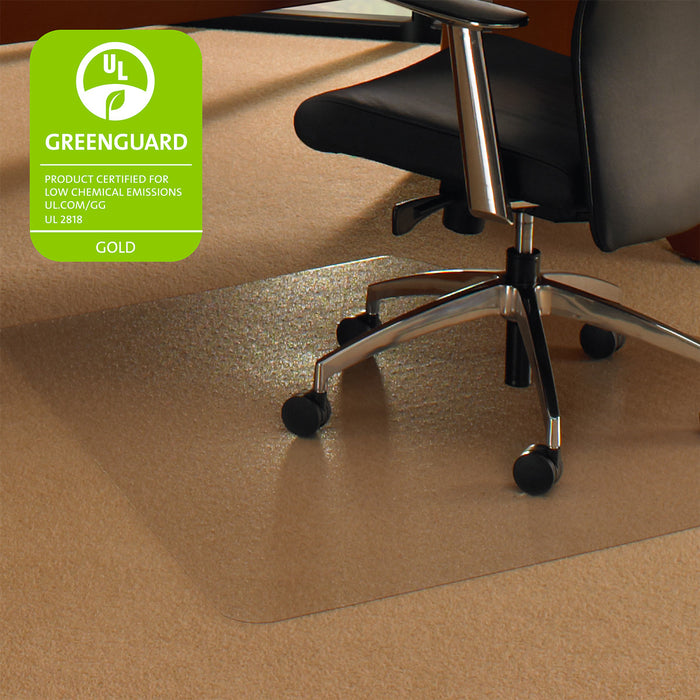 "Cleartex Ultimat Polycarbonate Corner Workstation Chair mat for Low & Medium Pile Carpets up to 1/2"" (48"" X 60"" )"