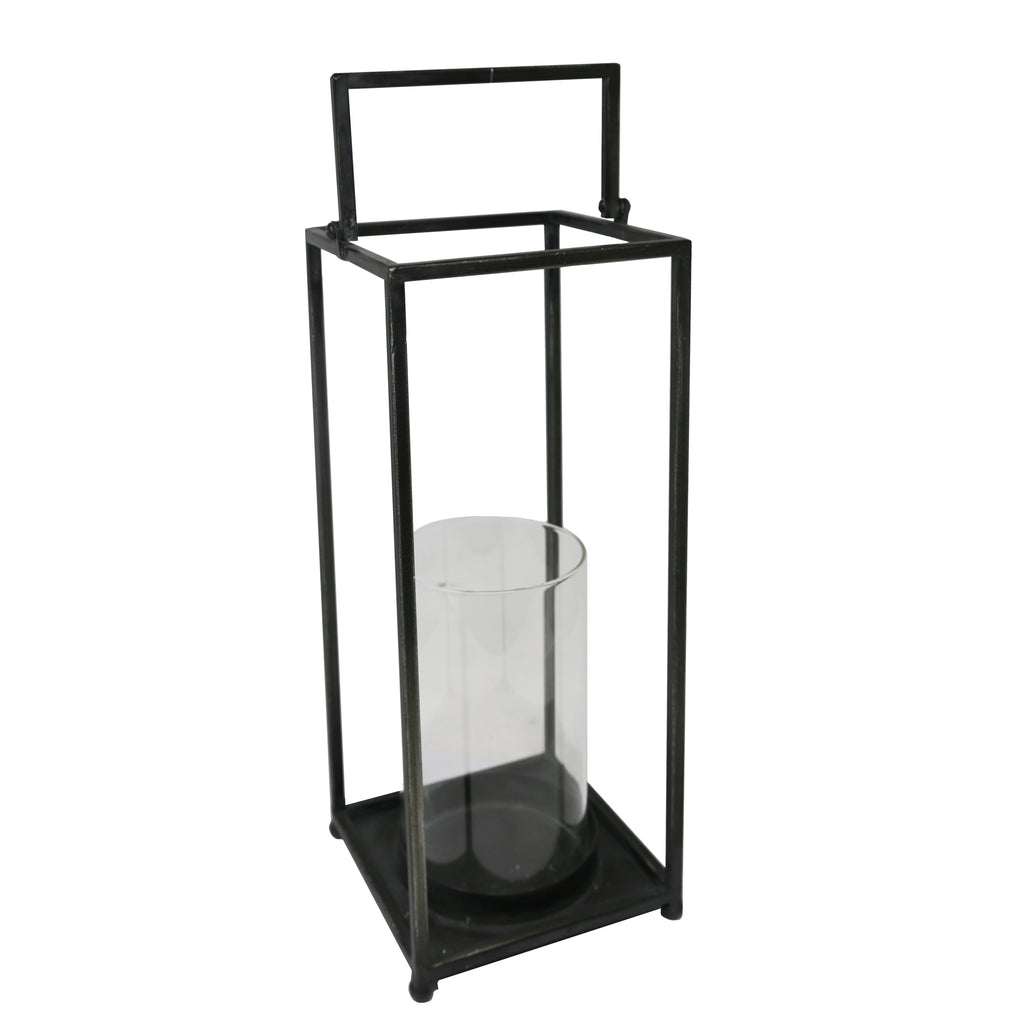 Black Metal/Glass Open Lantern, 16""