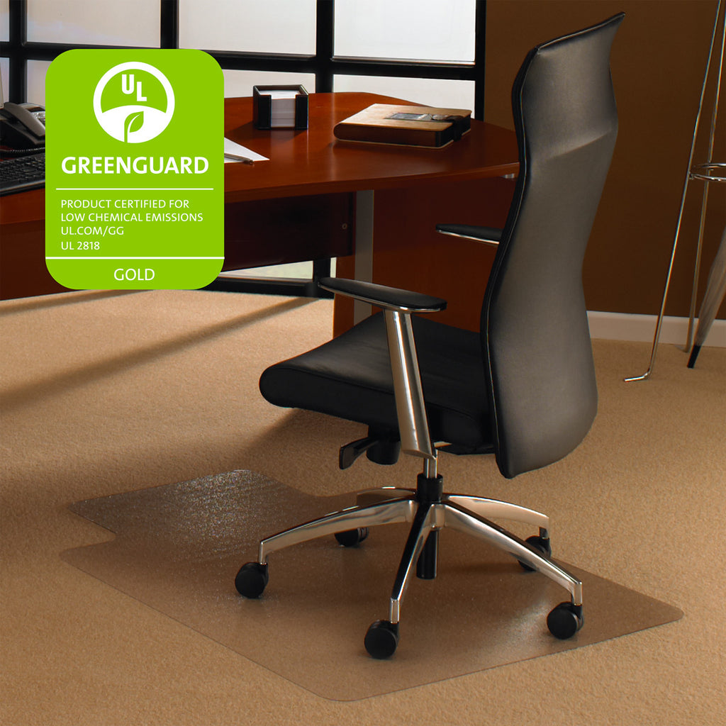 "Cleartex Ultimat Polycarbonate Clear Chair mat for Plush Pile Carpets Over 1/2""  , Rectangular with Front Lipped Area for Under Desk Protection, Floor Mats, FloorTexLLC, - ReeceFurniture.com - Free Local Pick Ups: Frankenmuth, MI, Indianapolis, IN, Chicago Ridge, IL, and Detroit, MI"
