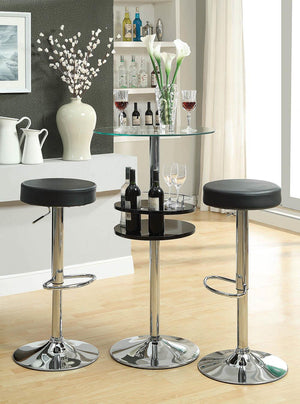 G120715 - Glass Top Bar Table With Wine Storage Black and Chrome Bar Set