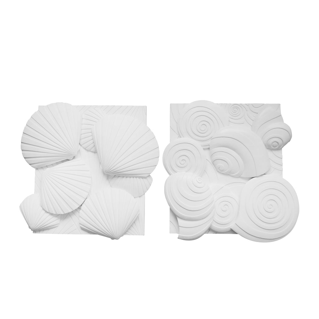 S/2 Resin Sea Shell Wall Decor, White
