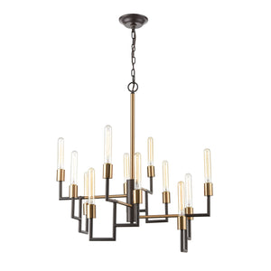 Congruency - Chandelier - Oil Rubbed Bronze, Satin Brass, Satin Brass