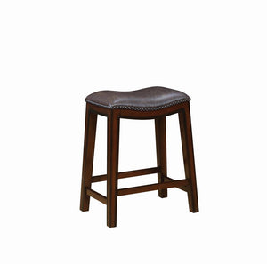 G122261 - Faux Leather Stool With Burnished Cappuccino Finish